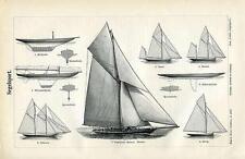 Segelsport Schiff Schoner Ketsch Schwertyacht Sxz Original Tafel von 1892 + Text