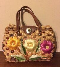 Vintage Straw Flower Bag Raffia Flower Design Handcrafted Philippines