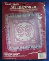 Vogart Crafts Net Darning Butterfly Pillow Kit 2526B Embroidery Kit Pink