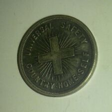 """Vintage UNIVERSAL SAFETY Cross / Country / Home / Self 1.25"""" Charm Token VG+ 4.5"""