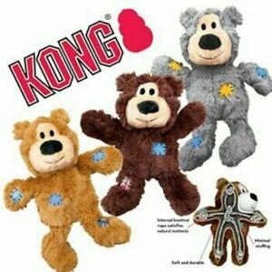 kong wild knots bear toy x - small - minimal stuffing,soft yet durable
