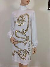 EMILIO PUCCI uk 10-USA 8-I 42 blouson manches blanc robe tunique-dragon oriental