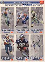 1993 Dallas Cowboys McDonald's GameDay Card Aikman Smith Irvin 110117jh2
