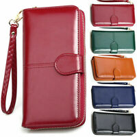 Lady Leather Wallet Long Zip Purse Card Holder Case Phone Clutch Large  Handbag