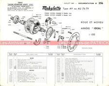 MOTOBECANE MOBYLETTE AV 76 79 AU Note N°256 'Roue et moyeu arrière' MOTOCONFORT