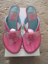 WOMENS LILLY PULITZER PINK LEATHER FLAMINGO FLOWER THONG SANDAL MULE SHOES 8