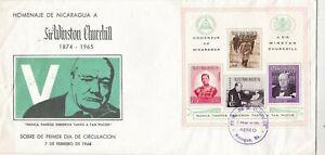 Nicaragua 1966 Winston Churchill Minisheet FDC Managua Cancel VGC unaddressed
