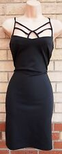 PRIMARK BLACK CAGED STRAPPY TUBE BODYCON PARTY BANDAGE ELEGANT DRESS 8 S