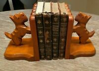 Scottie Dog Terrier Book Ends Vintage Wood Decorative Dog and Fence Maple Wood