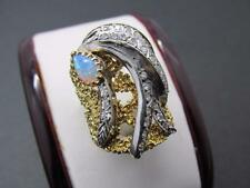 14k Solid Yellow Gold Diamond And Opal Cocktail Dinner Ring Retro 1970s Circa