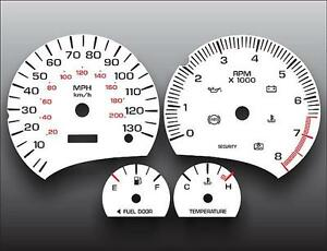 2000-2002 Saturn S-Series SL SC 130 MPH DOHC Dash Cluster White Face Gauges