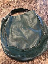 Kelsi Dagger Green Pebble Leather Gold Zipper Hobo Handbag Purse Large