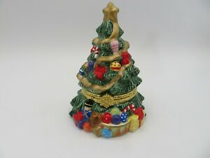 Hinged Christmas Tree Porcelain Trinket Box