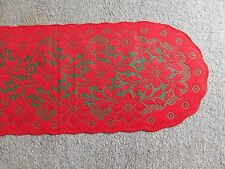 Red& Green Lace Regency table runner/ Mantel scarf 74 x 14