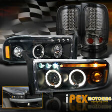 Dodge 94-01 Ram 1500 2500 Halo Projector Black Headlights + LED Smoke Tail Light