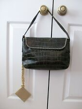 ROBERTO CAVALLI  Croc Embossed Hobo Shoulder Bag Purse~Attached Chain Wallet