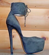 "Luichiny ReBecca Army Green Olive Ankle Cuff Pump 6"" Stiletto Heel Platform Shoe"