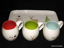 RAE DUNN MAGENTA CHRISTMAS TRAY AND 3 MUGS MERRY JOY BRIGHT 2014
