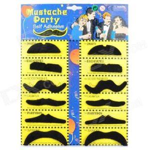 12 Self Adhesive Fake Moustache Mustache Hen Halloween Fancy Dress Party Costume