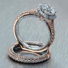 2Pcs Trendy White Topaz 925 Silver Women Wedding Engagement Set Ring Sz 5-10