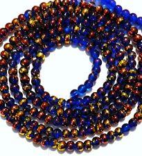 """G2240t Dark Blue 4mm Round Metallic Drawbench Swirl Glass Beads 32"""""""