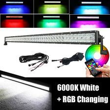 """52"""" inch LED Off road Light Bar RGB Strobe Color Changing 5D CREE & Harness kits"""