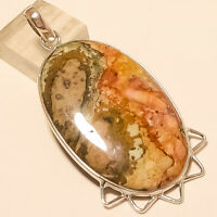 Natural Mexican Crazy Lace Agate Pendant 925 Sterling Silver Handmade Jewelry AA