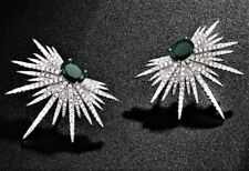 Gift Boxed Faux Emerald Diamond Cluster Paste Silver Stud Crystal Earrings UK