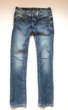 Miss Me Jeans Womens Size 24 Blue Cotton Striaght Bling Rhineston Fleur de Lis