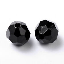 100pcs Solid Chunky Bubblegum Acrylic Beads Faceted Round Loose Beads Black 8mm