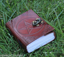 PENTAGRAM LEATHER JOURNAL HANDMADE BLANK BOOK OF SHADOWS W/ LOCK Wicca PENTACLE