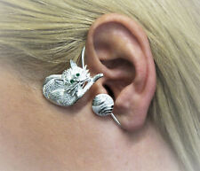 JoliKo Ohrklemme Ohrschmuck Silber Pl Ear cuff Katze Miezi Miau Cat Katz LINKS