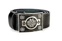Celtic Knot Leather Kilt Belt and Buckle MG4 Antique + Black