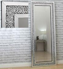 "Gatsby Crystal Glass Framed Full Length Bevelled Leaner Wall Mirror 71"" x 27.5"""