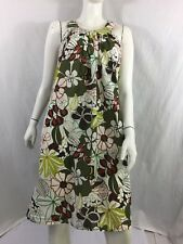 KUSHI KHKAI / LIME GREEN FLORAL HIGH NECK LOOSE FITTING TUNIC DRESS SIZE 10
