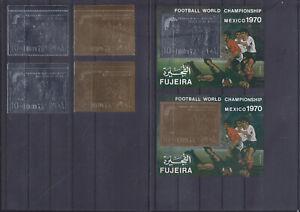 086733 Fussball WM `70 Soccer Arabia Fujeira 600-01 A/B + Block 36/37 A/B ** MNH