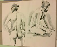 Renato Guttuso (1911-1987) Gemälde Aquarell Tusche Akt männlich signiert