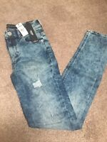 Express Women's High Rise Legging Acid Wash Denim Distressed Jeans Size 0 NWT