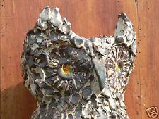 vase céramique poterie ancienne régionale Poncé/ le loir designXXe chouette 50's