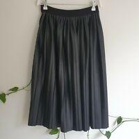 Boohoo Black Faux Vegan Leather Pleated A-Line Midi Skirt S Stretch High Waist