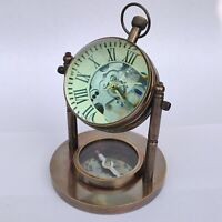 Antique Brass Mechanical Desk Clock Both Side Lens Base Compass Desktop Gift