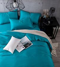 Kiss&tell 100% Egyptian Cotton Solid Color Duvet Cover Sets (Queen, Young Blue)