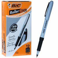 BIC Grip Roller Glide GRE11 31203, Black Ink, 0.7mm Fine Point, Box of 12 Pens