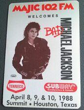 1988 MICHAEL JACKSON RADIO PROMO PASS BAD TOUR HOUSTON ,TEXAS