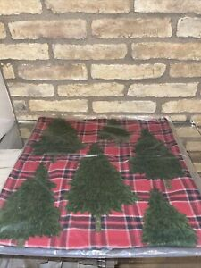 Pottery Barn Forest Tree Applique plaid Embroidered Pillow cover Christmas new