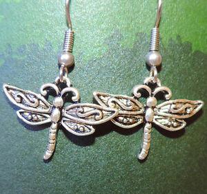 Tibetan silver dragonflies dangle earrings on silver plated hook