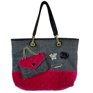 Betsey Johnson Shopper Tote Quilted Pink Velvet & Grey Tweed Jewel Embellished