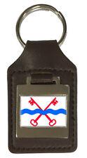 Leather Keyring  Engraved Leiderdorp City Netherlands Flag