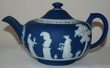 Antique Wedgwood Blue Dip Large Round Squat Teapot c1900