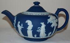 Antique Wedgwood Blue Dip Large Round Squat Teapot c1900